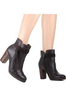 Bota Cravo E Canela Ankle Boot Feminina - Feminino-Marrom