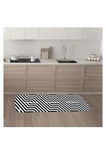 Tapete De Cozinha Mdecore Abstrato P&B 40X120Cm