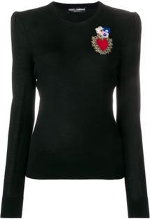 ... Dolce   Gabbana Suéter  Heart  Em Seda E Lã Mistas - Preto a972ed8316