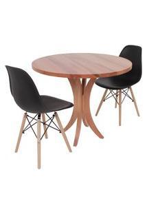 Conjunto Mesa De Jantar Tampo De Madeira 90Cm Com 2 Cadeiras Eiffel - Preto