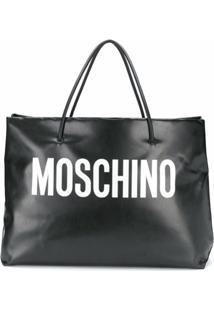 Moschino Bolsa Tote Oversized Com Estampa De Logo - Preto