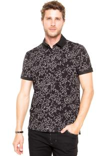 Camisa Polo Triton Floral Preta