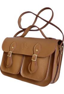 Bolsa Line Store Leather Satchel Pockets Pequena Couro Caramelo.