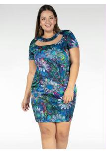 Vestido Curto Floral Detalhe Em Tule Plus Size