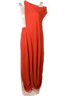 Marni Vestido Midi Drapeado - Vermelho