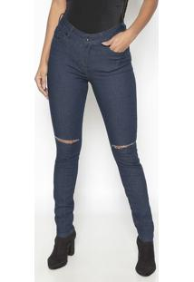 Jeans Skinny Destroyed Com Tag- Azul Escuro- Guessguess