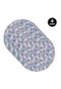 Sousplat Mdecore Floral 35X35Cm Azul 4Pçs