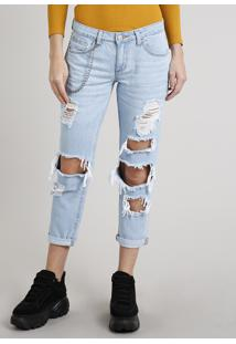 Calça Jeans Feminina Girlfriend Destroyed Com Corrente Azul Claro