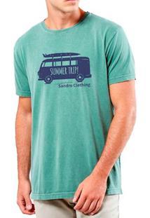 Camiseta Masculina Sandro Clothing Kombi Verde Água Estonada