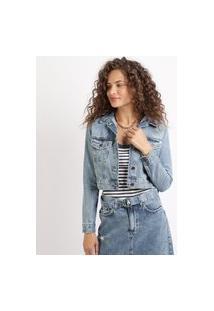 Jaqueta Jeans Feminina Cropped Com Bolsos Azul