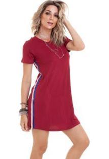 Vestido Semi Rodado Listras - Feminino-Vermelho