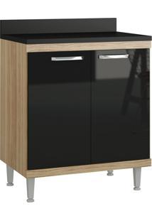 Armário De Cozinha 5122 Com Tampo Cx Argila Fosco Fr Preto Brilho - Multimóveis