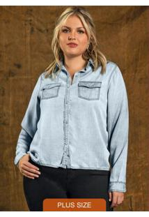 Camisa Feminina Jeans Azul