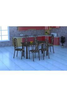 Conjunto Mesa Granada Com 6 Cadeiras Granada Preto Prata - Fabone - Assento Preto Com Floral
