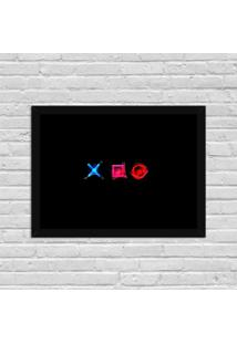 Quadro Decorativo Gamer Play Control X O Preto - Médio