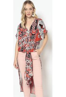 Blusa Alongada Com Amarração - Vermelha & Preta - Momorena Rosa