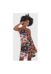 Vestido Mercatto Curto Floral Preto