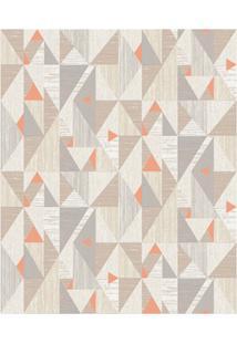 Papel De Parede Colorful Decor Triângulos Bege E Laranja 53Cm Com 10 Metros