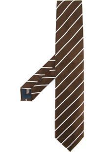 United Arrows Gravata Listrada De Seda - Marrom