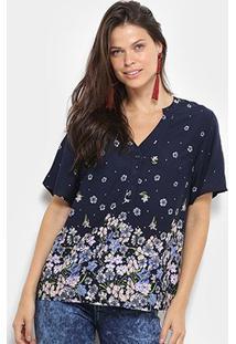 Camisa Manga Curta Mi Floral Gola V Botões Feminina - Feminino-Azul