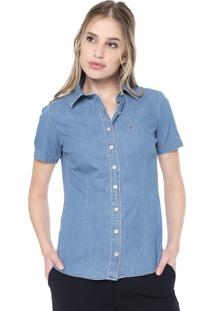 Camisa Jeans Dudalina Essentials Azul