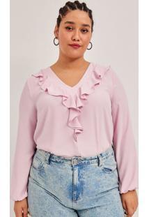 Blusa Em Crepe Liso Com Babado E Amarração Curve E Plus Size Rosa