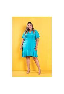 Vestido Lily Babado Azul Plus Size Domenica Solazzo Domenica Solazzo Vestidos Curtos Azul