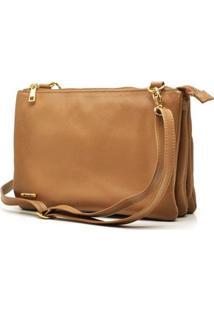 Bolsa Hendy Bag Couro Feminina - Feminino-Caramelo+Off White