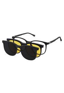 Oculos De Sol Clipon De Grau Feminino Redondo Preto 7009