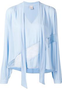 Pinko Blusa Com Detalhe De Renda - Azul
