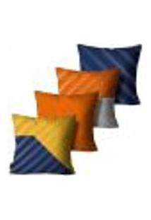 Kit Com 4 Capas Para Almofadas Premium Cetim Mdecore Geométrica Colorida 45X45Cm