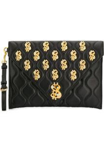 Moschino Clutch Dollar Sign - Preto