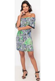 Vestido Ciganinha Com Renda- Azul & Verde- Thiptonthipton