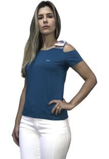Camiseta Hifen Com Abertura No Ombro Azul