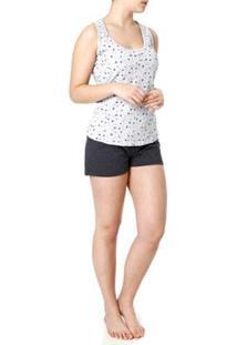 Pijama Curto Mundo Do Sono Feminino - Feminino-Cinza