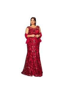 Vestido Almaria Plus Size Pianeta Tule Vinho