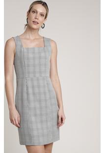 Vestido Feminino Curto Estampado Xadrez Com Fenda Sem Manga Cinza