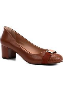 Scarpin Couro Shoestock Salto Médio Medalha - Feminino-Caramelo