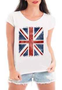 Camiseta Criativa Urbana Bandeira Londres - Feminino-Branco