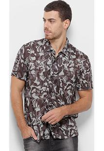 Camisa Manga Curta Cavalera Confort Camuflada Masculina - Masculino