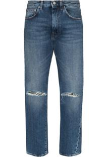 Totême Calça Jeans Reta Cintura Alta - Azul
