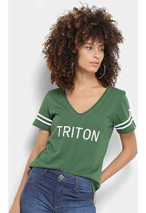 Camiseta Triton Gola V Logo Listras Feminina - Feminino-Verde