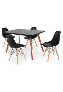 Conjunto Mesa De Jantar Gih 120X80Cm Preta Com 4 Cadeira Eames Eiffel - Preto
