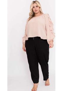 Blusa Almaria Plus Size Pianeta Creponada Rosa