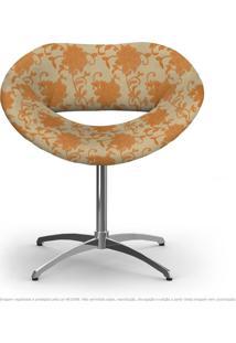 Cadeira Beijo Floral Laranja E Marrom Poltrona Decorativa Com Base Giratória