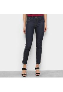 Calça Jeans Grifle Skinny Lateral Avesso Feminina - Feminino-Marinho