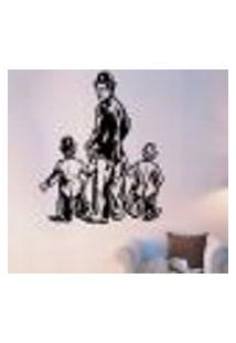 Adesivo De Parede Chaplin E Crianças - Es X121X98Cm