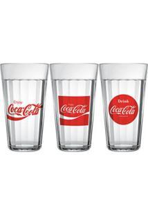 Conjunto De Copos Americano Coca-Cola Em Vidro Sodacal 450 Ml Com 03 Peças - Nadir Figueredo