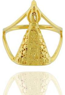 Anel Nossa Senhora Aparecida Semi Joia - Feminino-Dourado