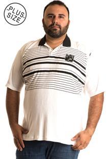 Camisa Polo Konciny Plus Size 10061 Preto E Branco